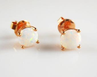 White opal rose gold color plated earrings,6mm white opal studs earrings, wedding jewelry, bridesmaids gifts,petite dainty earrings