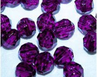 JOLLY STORE Crafts 8mm Faceted Beads Dark Amethyst Color, 500pcs