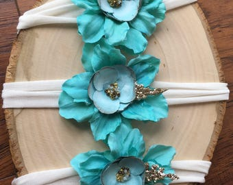 Beautiful teal flower tie-back headband