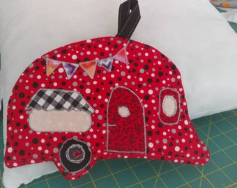 Ready to ship Camper Porholder, Red with gray and black polka dots