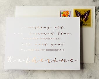 Be my Bridesmaid card | Custom wedding card from The Invite Press, Will you be my maid of honour card. Personalised card to ask Bridesmaids