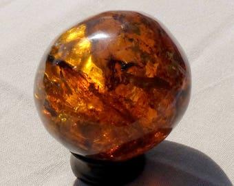 Planet sphere in Mexico - 6 cm in diameter, 140 g orange-amber - amber