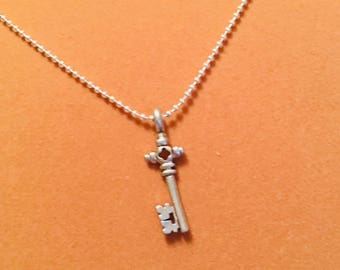 Silver Key Charm Necklace