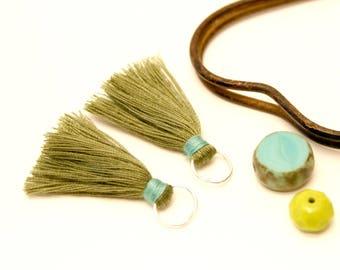2 PomPoms khaki green, 35 mm, Turquoise, Pompom tassels handmade Tassel
