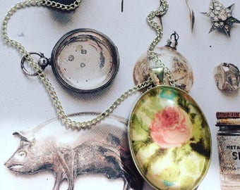 Handmade Vintage floral pendant necklace