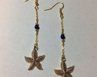 "Earrings ""Starfish and pearl beads"""