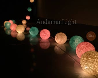 Cotton Ball Lights for home decoration,wedding patio,indoor string lights,bedroom fairy lights,bedroom string lights, 20 pieces.