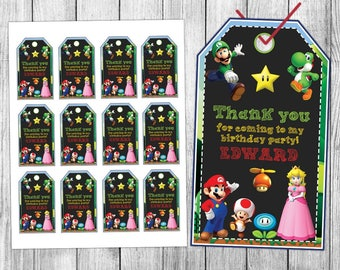Super Mario Thank You Tags, Super Mario Favor Tags, Super Mario Gift Tags, Super Mario Tags, Super Mario Tag Printable, Birthday Tags