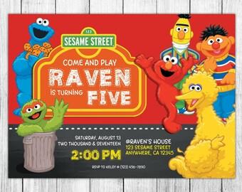 Sesame Street Invitation, Sesame Street Birthday, Sesame Street Invites, Sesame Street Party, Printables, FREE 4x6 Thank You Card