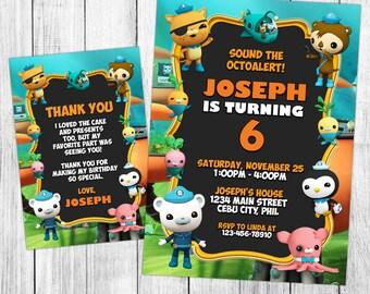 Octonauts Invitation, Octonauts Birthday, Octonauts Invites, Octonauts Party, Octonauts Printable, Custom, FREE 4x6 Thank You Card