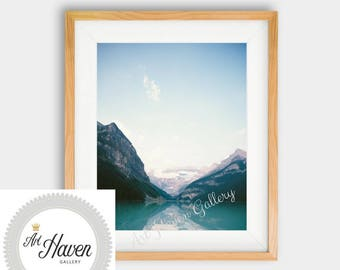 Mountain Wall Art Print, Lamdscape PRINTABLE, Mountain Lake Print, Forest Print, Lake Reflection Wall Art, Mountain Photography, Lake Poster