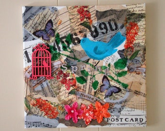 Original spring mixed media collage with blue bird. #mixedmediaart #collageart #springcollage #bluebirdcollage #musicnotescollage #gift