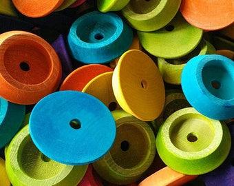 24 Shallow Hardwood Discs - Bird Toy Part Foraging Part