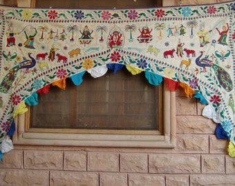 Indian traditional embroidered handmade gate topper door valance hanging toran