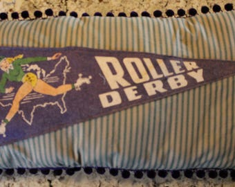 Vintage Roller Derby Pennant Pillow