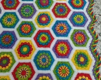 Colorful Hexagon Flower Afghan