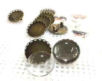 Kit of brooch base/Bronze cameo brooch base _20mm _Pack of 8 set