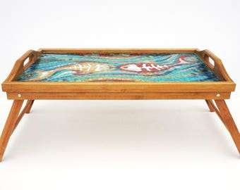 Glass Mosaic Serving Tray Two Abstract Fishes With Bones