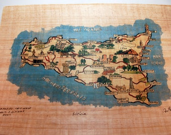"Traditional Sicilian Papyrus ""Map of Sicily"""