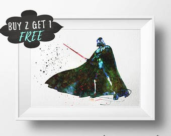 Darth Vader Wall Art Poster Print, Darth Vader Star Wars Nursery Decor, Printable Watercolor Artwork Download, Darth Vader Print Poster
