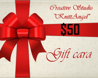 Gift card  Online  Certificate 50 dollars Print or email last Minute Gift for Holiday Stocking Birthday Anniversary Wedding Christmas