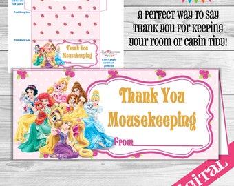 DIGITAL Princess Mousekeeping envelope, Disney Gratuity envelope, Disney tip envelope