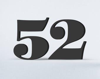 Flat Cut Acrylic House Numbers - Surveyor Black