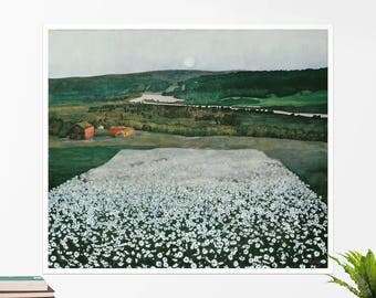 """Harald Sohlberg, """"Flower Meadow in the North"""". Art poster, art print, rolled canvas, art canvas, wall art, wall decor"""
