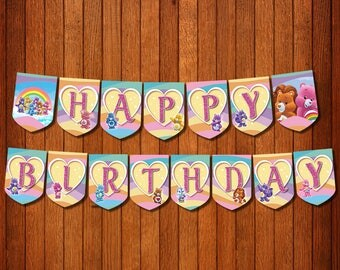 Care Bears Birthday Banner, Care Bears Banner, Care Bears Birthday Party, Decoration, Care Bears,Care Bears Bone, Birthday Banner| CARE_FULL
