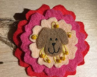 Felt dog rose brooch