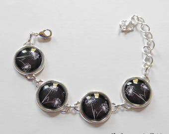 "Silver dome ""writing"" bracelet"