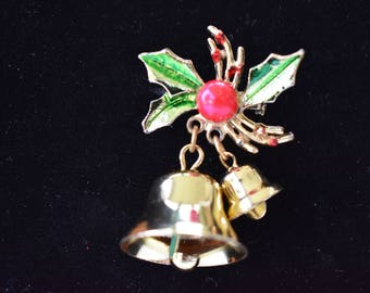 Brooch Christmas Large and Small Ringing Bell Gold Tone
