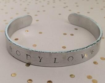 Bodylove Cuff Bracelet (Silver + Black) // Body Positive Jewelry