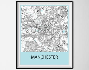 Manchester Map Poster Print - Black and White