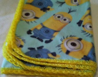 Soft Minions Child or Baby Blanket With Hand-Made Yellow Crochet Trim