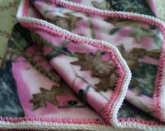 Soft Pink Mossy Oak Camo Child or Baby Blanket With Hand-Made Pink & White Crochet Trim