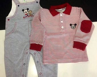 MICKEY MOUSE fleece overalls full + 6/9 t-shirts infant months