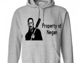 Property of Negan Zombie Walking Dead Unisex Hoodie Pullover Hooded Sweatshirt Many Sizes Colors Custom Horror Halloween Merch Massacre