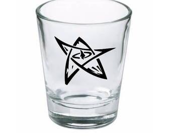 Elder Sign HP Lovecraft Cthulhu Shot Glass Horror Halloween Drinking Bar Gift for Him Her Merch Massacre