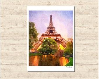Eiffel Tower Paris Watercolour Painting Postcard Poster Art Print Q76