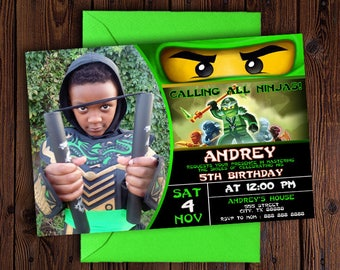 Ninjago Birthday Invitation Picture/Ninjago Birthday Invitation with Photo/Ninjago Birthday Invitation/Lego Ninjago Birthday Invitations