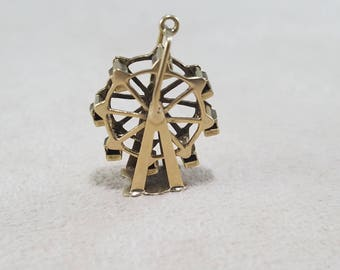 14kt yellow gold articulated Ferris wheel charm