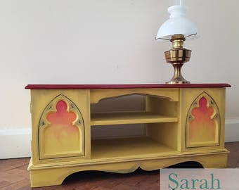 TV unit / TV Stand / TV Console / Storage Unit / Television Cabinet / Shelf Unit / Painted Furniture / tv cabinet / hand painted / gothic