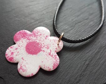 Flower necklace, enamel jewellery, statement necklace