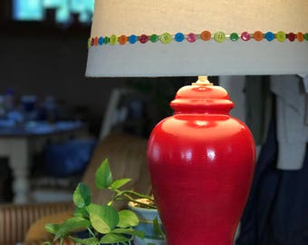 Hand Painted Upcycled Table Lamp; Red