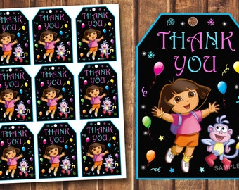 Dora The Explorer thank you tags, Dora The Explorer birthday card,  Dora birthday tags, Dora favor tags, Dora thank you card