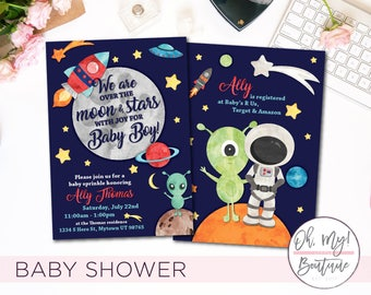 Baby Shower Invitation • SPACE • Over the Moon • Baby Invite • Spaceship • Outerspace • Alien • Outerspace Baby Shower • Out of this world