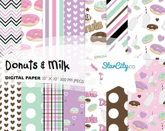 Donuts and Milk Digital Paper Pack, Donut Paper, Digital Paper, Milk Digi Paper, Plaid donut paper, Chocolate milk paper, Commercial use