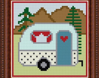 Joy of Camping - PDF digital counted cross stitch pattern, camper pattern, camping cross stitch, primitive pattern,  PDF download, DIY