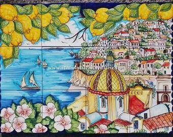 Positano decorative tile mural art backsplash. Fine Art Ceramic Tuscan Tile Murals and Backsplashes compliment any Tuscan decor in your home